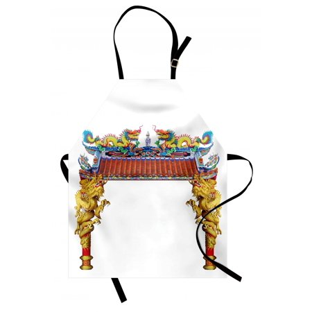 Dragon Apron Chinese Style Dragon Archway Statue over Pillars in Asian Temple Mythology Art, Unisex Kitchen Bib Apron with Adjustable Neck for Cooking Baking Gardening, Yellow Red Blue, by Ambesonne