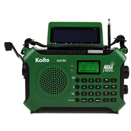 Kaito KA700 AM FM NOAA Weather Radio with Build in Recorder Bluetooth Solar and Crank - Green