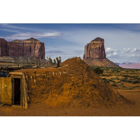 Native American Hogan's and Mitchell Butte in Monument Valley Tribal Park of the Navajo Nation, Az Print Wall Art By Jerry Ginsberg ()