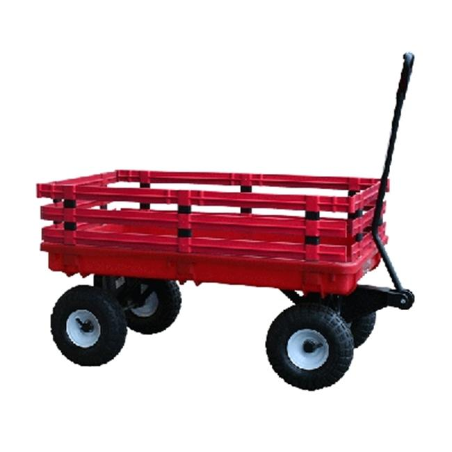 Millside Industries 04795 20 in. x 38 in. Red Plastic Deck Wagon with 4 in. x 10 in. Tires
