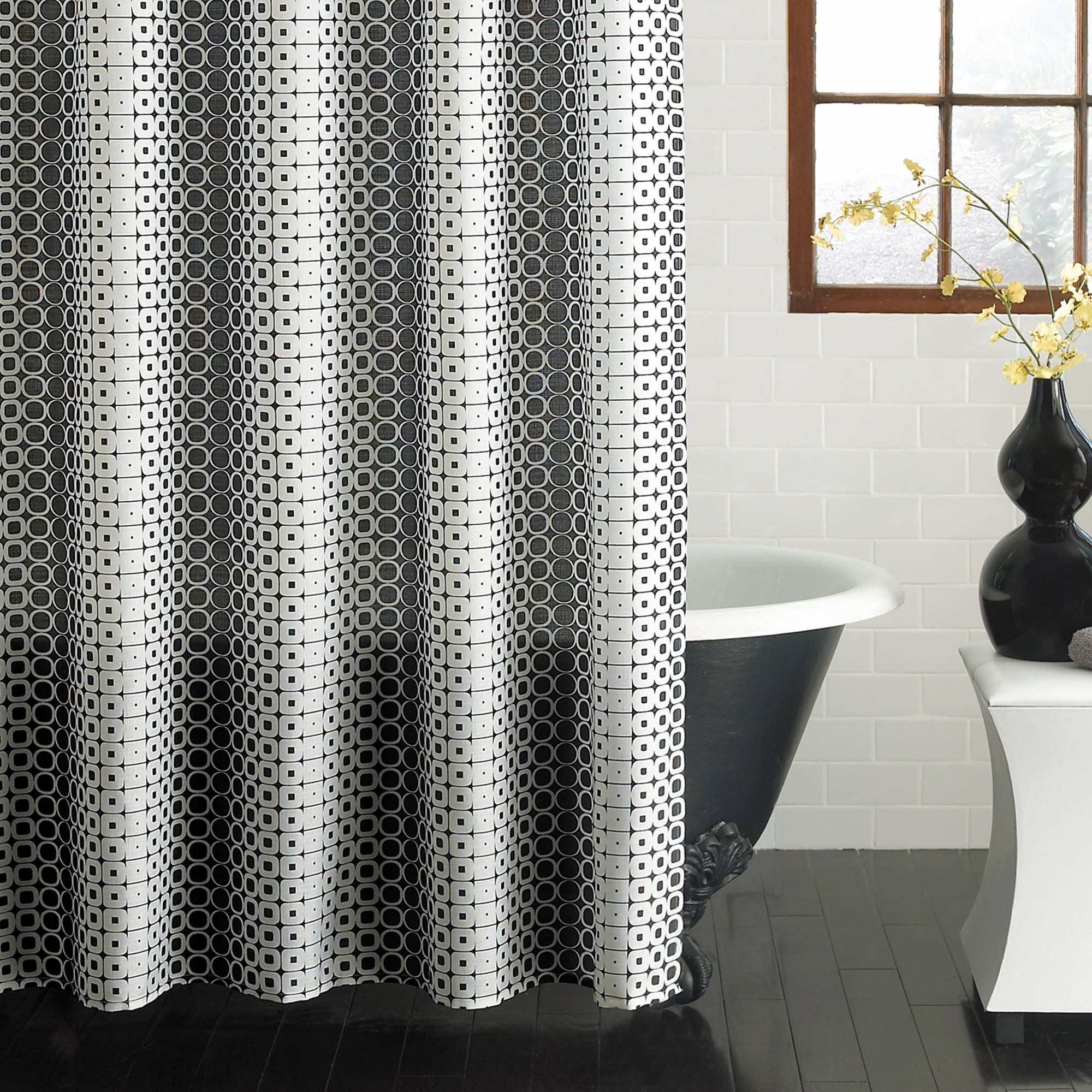 "Excell Optic Circles 70"" x 72"" Fabric Shower Curtain, Black and White"