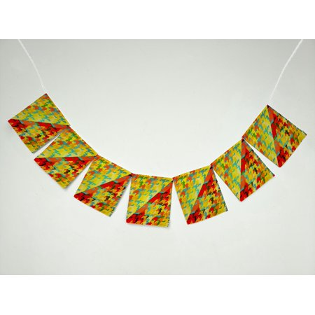 ZKGK Houndstooth Pattern Banner Bunting Garland Flag Sign for Home Family Party Decoration ()