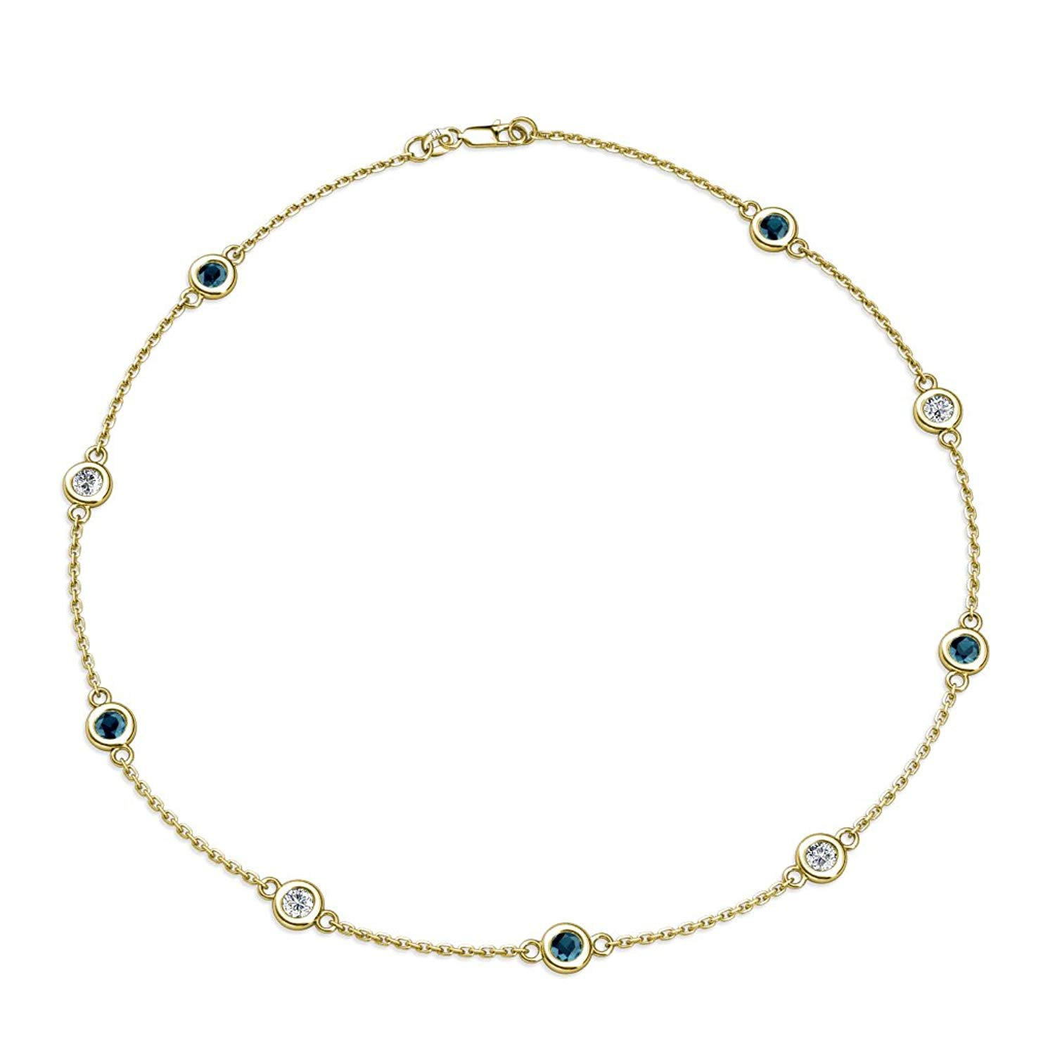 Blue and White Diamond (SI2-I1, G-H) 9 Station Necklace 2.25 cttw in 14K Yellow Gold by TriJewels