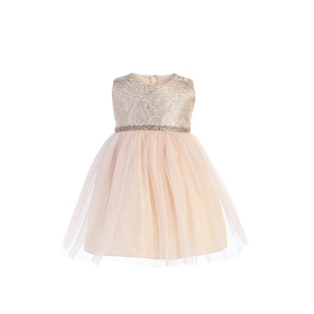 Sweet Kids Baby Girls Champagne Brocade Crystal Tulle Christmas Dress - Kids Christmas Dresses