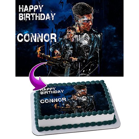 Punisher Marvel Netflix Edible Cake Image Topper Personalized Icing Sugar Paper A4 Sheet Edible Frosting Photo Cake 1/4 Edible Image for cake (Marvel Cake Toppers)
