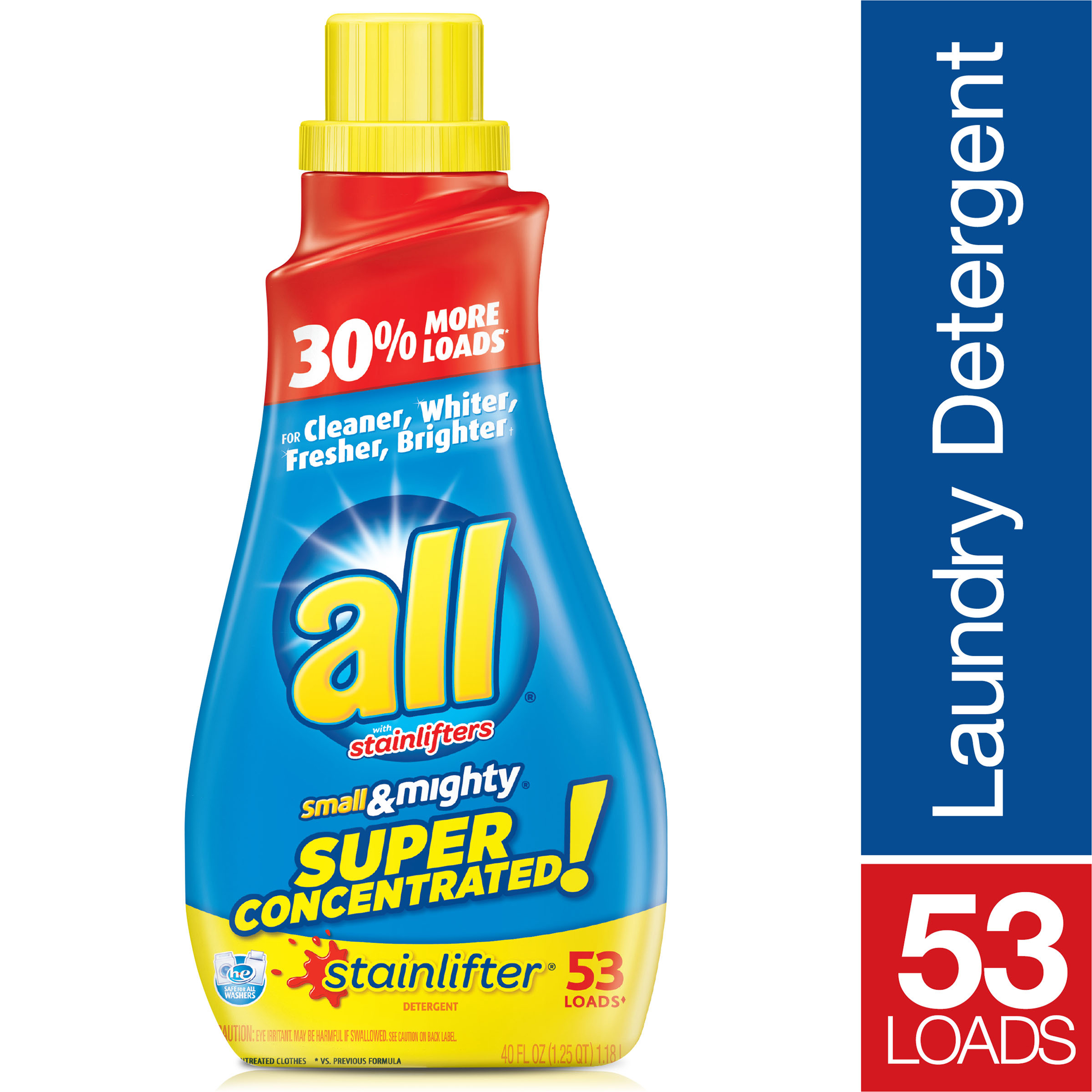 bd48c5927 all Small & Mighty Super Concentrated Liquid Laundry Detergent,  Stainlifter, 40 Fluid Ounces, 53 Loads - Walmart.com