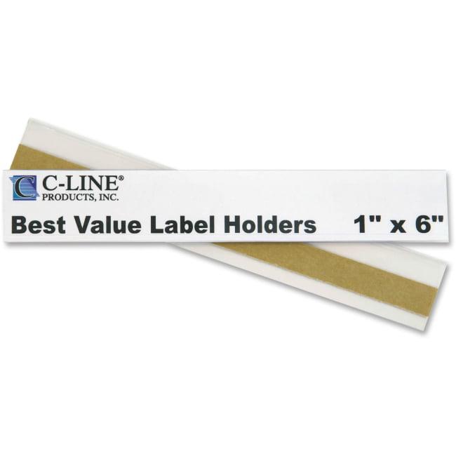 "C-Line Best Value Peel and Stick Shelf/Bin Label Holder - 1"" x 6"" - Plastic - 50 / Pack - Clear"""