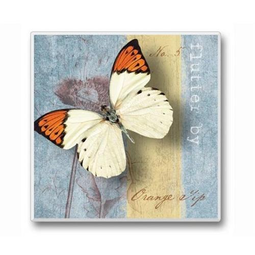 Flutter By Coasters White and Orange Butterfly Set of 6
