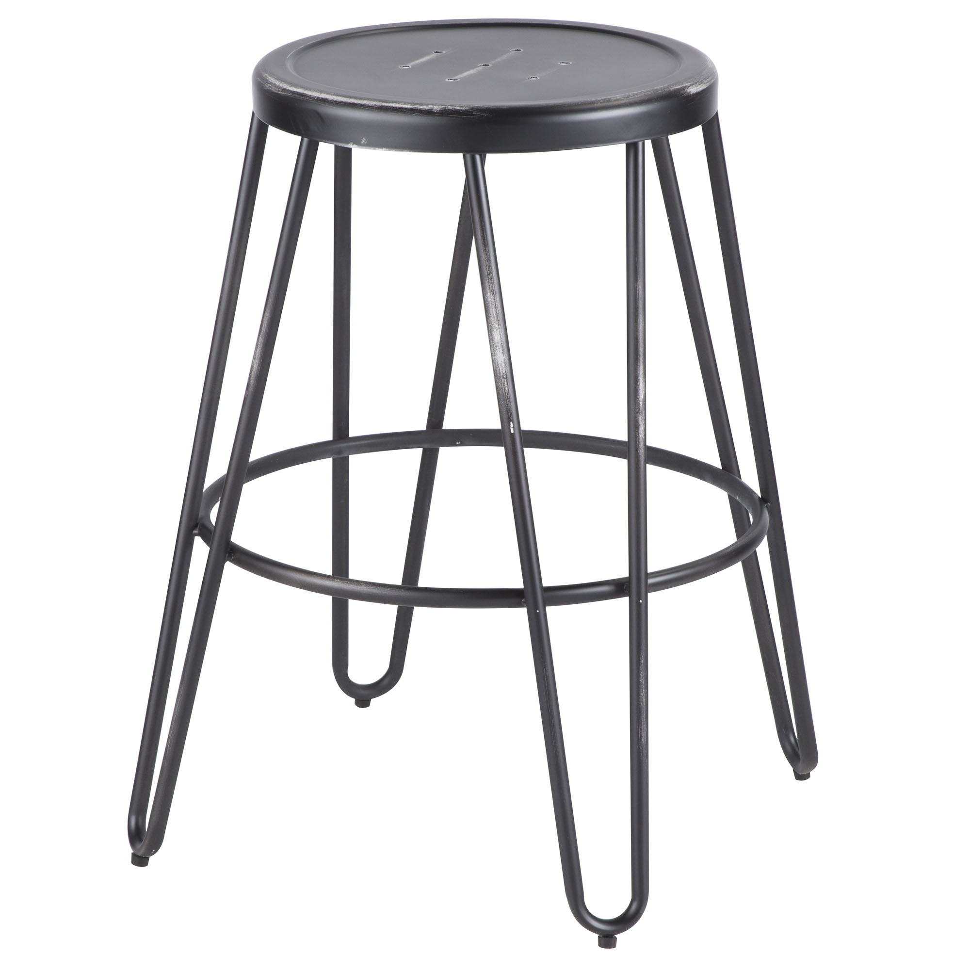 Avery Industrial Metal Counter Stool in Vintage Black by Lumisource Set of 2 by LumiSource