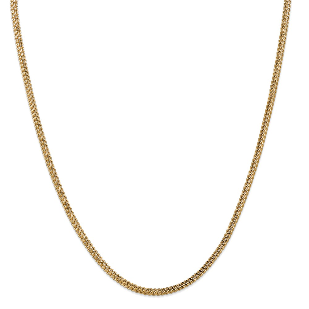 "14K Yellow Gold 3mm Hollow Franco Necklace Chain -22"" (22in x 3mm)"