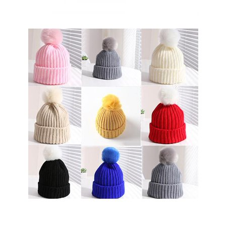 Kids Children Boy Girl Winter Warm Knit Beanie Hat Beret Crochet Cap with Fluffy Ball (The Man With The Yellow Hat)