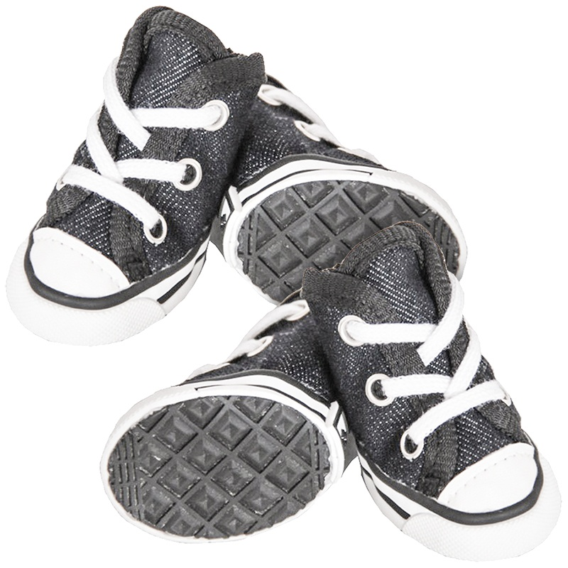 Pet Life Extreme Skater Fashion Dog Shoes - Black & White X-Small - 4 Shoes - (5cm L x 3.8cm W)
