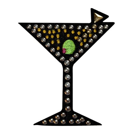 ID 1943 Studded Martini Glass Patch Cocktail Alcoholic Drink Iron On Applique (Easy Halloween Drinks Alcoholic)