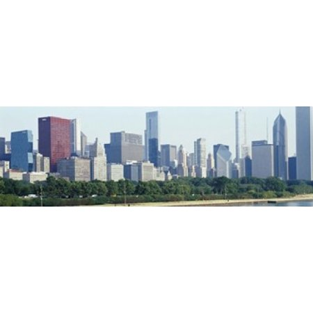 Party City In Illinois (City skyline with Lake Michigan and Lake Shore Drive in foreground Chicago Illinois USA Canvas Art - Panoramic Images (18 x)