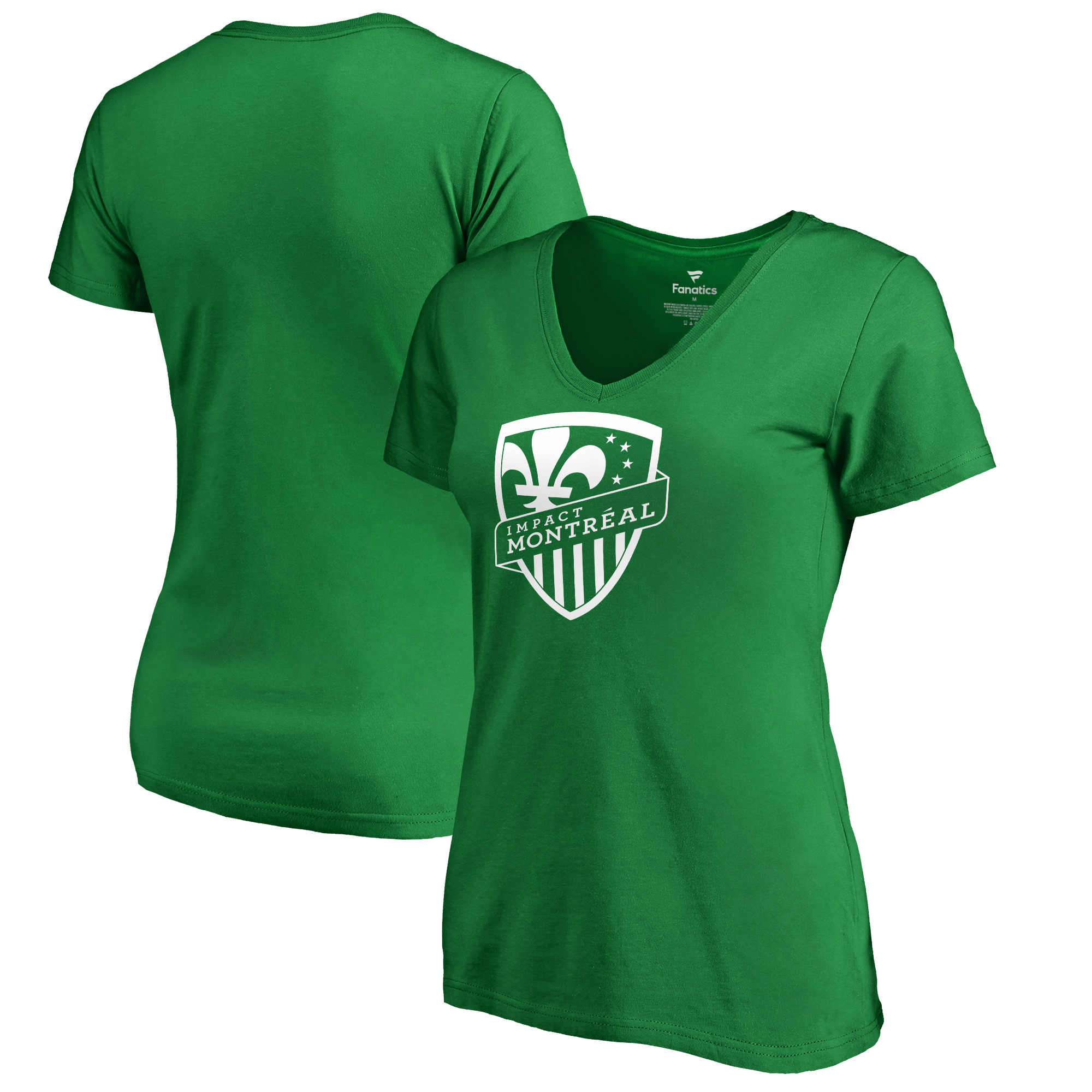 Montreal Impact Fanatics Branded Women's St. Patrick's Day White Logo V-Neck T-Shirt - Kelly Green