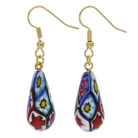 GlassOfVenice Murano Glass Mosaic Millefiori Drop Earrings - Gold