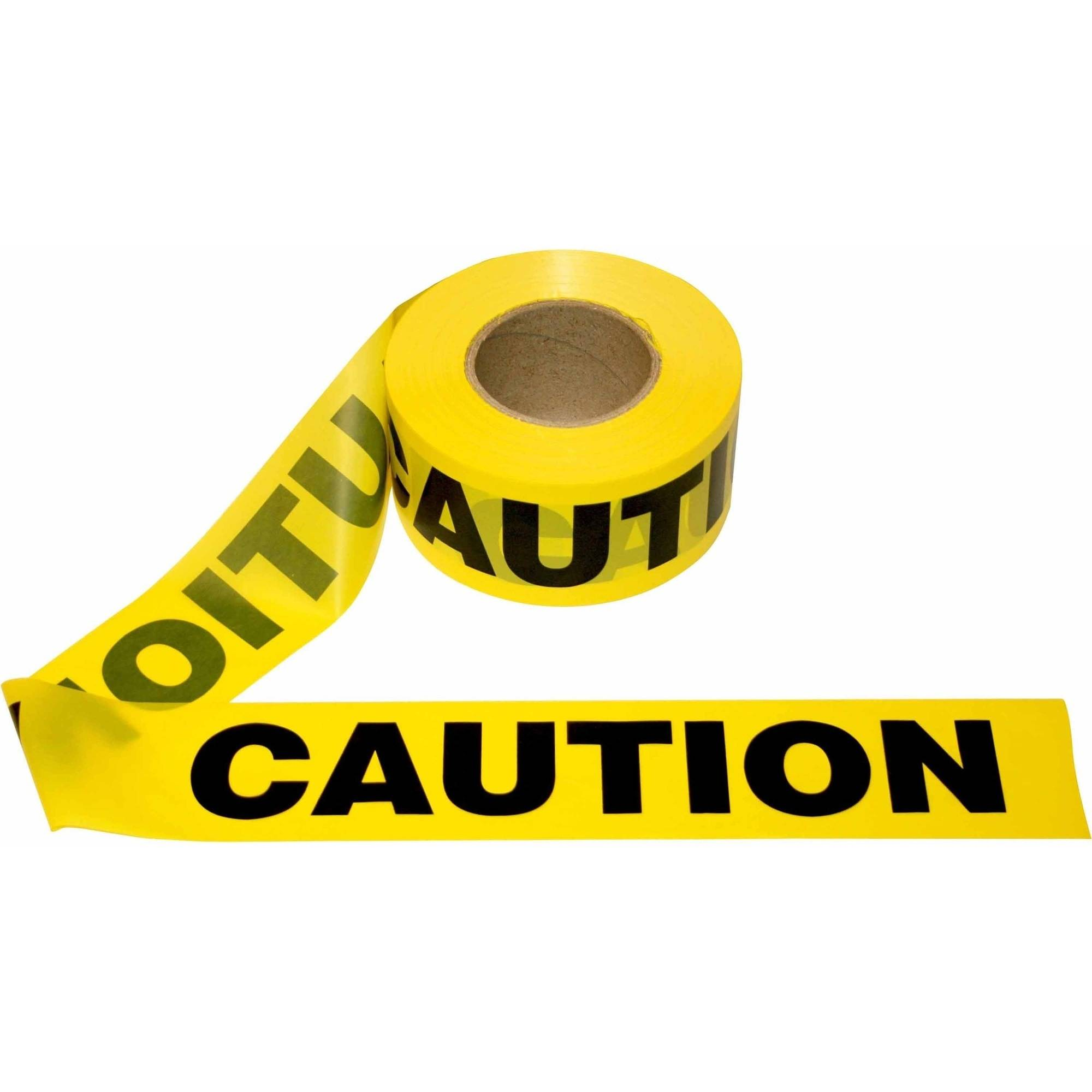 """Yellow """"Caution"""" Barricade Tape, 2.0 mil. Thickness, Pack of 12 Rolls"""