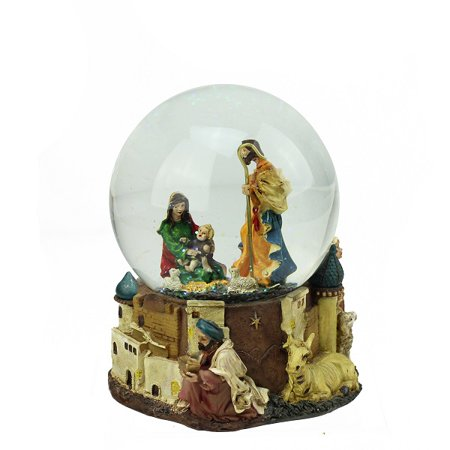 "5.5"" Nativity Scene Religious Inspirational Musical Christmas Snow Globe Glitterdome"