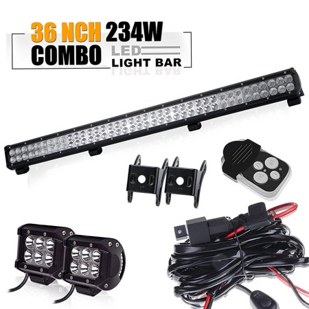 QUAKEWORLD 36 Inch Led Light Bar 234W Combo Beam Light Bar with pair 4Inch 18w Led Pods Cube Driving Light&3 lead Wirng Harness Kit for Van Wagon Pickup ATV SUV Truck 4WD Toyota Bumper Grill Boat