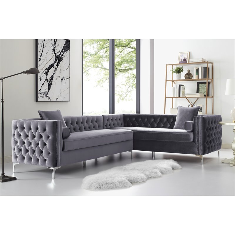 Levi Grey Velvet Corner Sectional Sofa - 120 Inches Right Facing