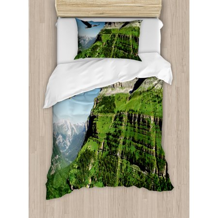 Eagle Twin Size Duvet Cover Set, Wild Majestic Bird Flying Great Landscapes Green Mountains Forest Nature Image, Decorative 2 Piece Bedding Set with 1 Pillow Sham, Green Blue Black, by Ambesonne