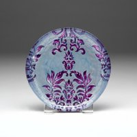 "SET OF 4 DAMASK 8.5"" TWO PURPLE SALAD PLATES"