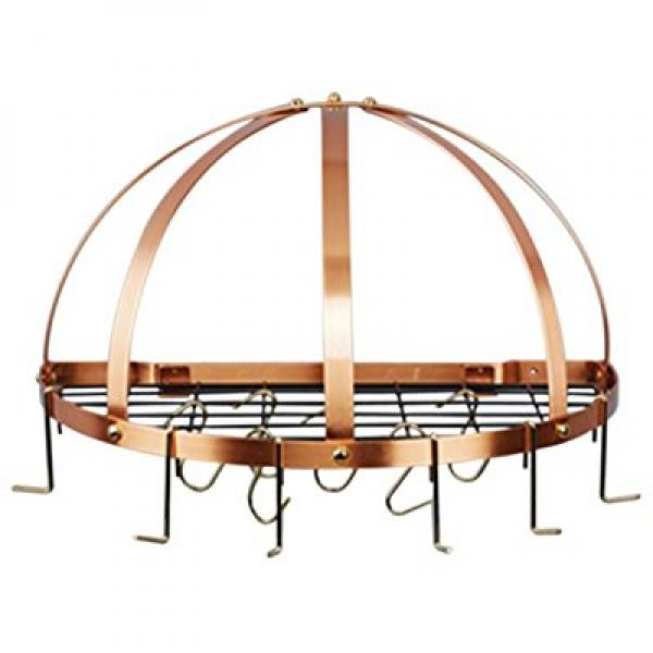 22 1 2 x 11 1 4 x 11 1 2 Satin Copper Pot Rack w Grid & 12 Hooks by