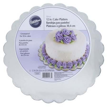 Wilton 12-Inch Round Cake Boards, Silver, 5-Count