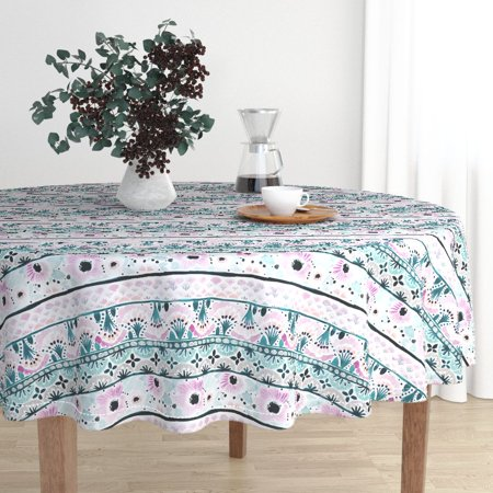Round Tablecloth Floral Florence Boho Dreams Floral Stripes Cotton Sateen