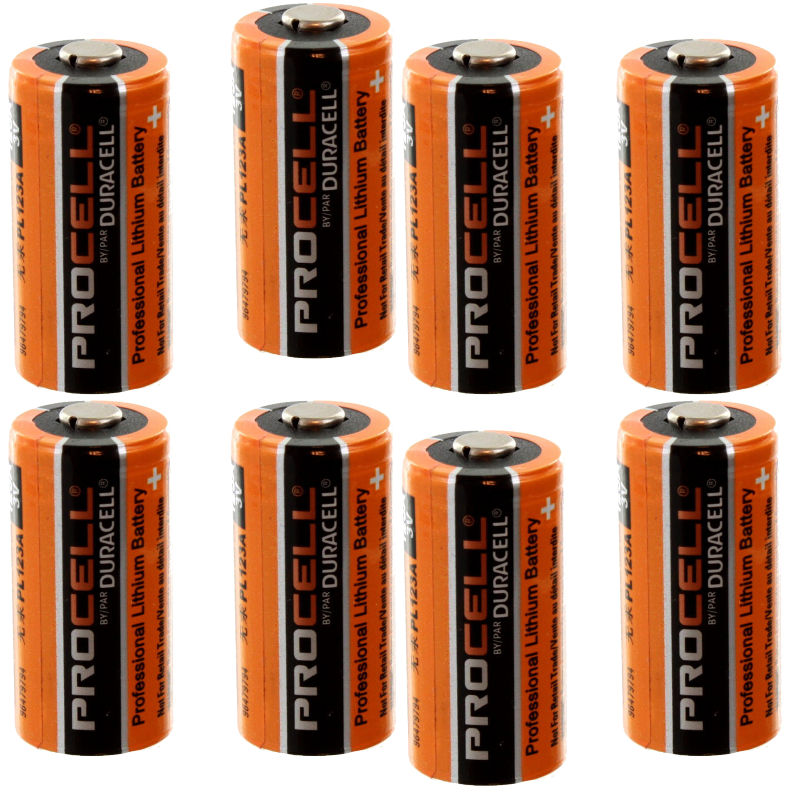 8x Duracell PROCELL DL123, CR123 3V Lithium Battery MADE IN USA FAST USA SHIP