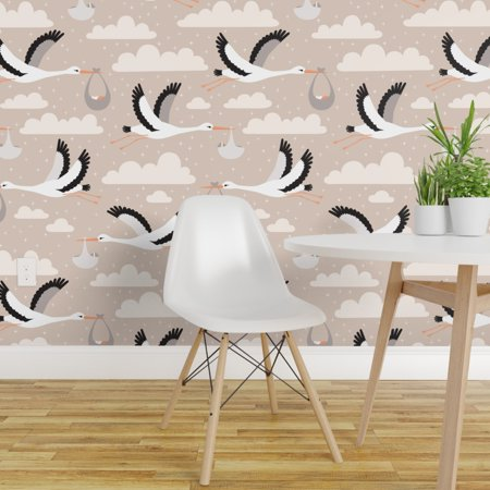 Removable Water Activated Wallpaper Stork Birds Animals Flying Baby Nu