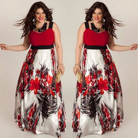 80 Outfits For Plus Size (Plus Size Women Floral Printed Long Evening Party Prom Gown Formal Dress)
