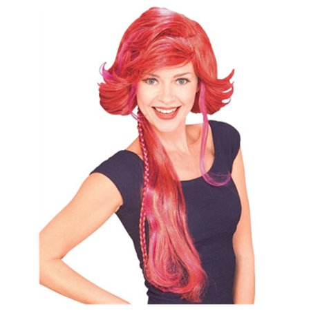 Adult Womens Red Funky Pirate Costume Flip Wig - Red Wig Costumes