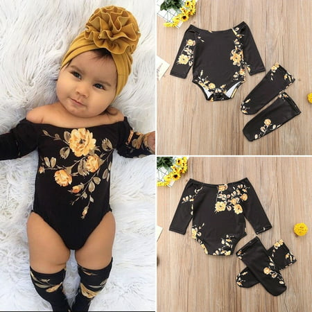 b17af918ea58 Emmababy - Cute Newborn Infant Baby Girl Flower Romper Jumpsuit+Leg Warmers  3Pcs Outfits Set - Walmart.com
