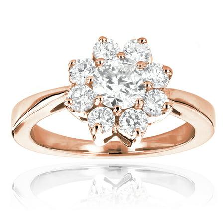 Ladies Diamond Cluster Rings: 14K Gold Diamond Flower Ring 1.3 Ctw (Rose Gold Size 6)