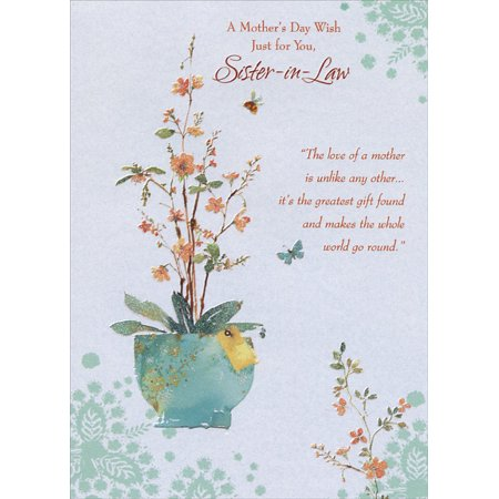 Designer Greetings Wildflowers in Blue Pot: Sister-in-Law Mother's Day (Happy Birthday Greetings To Mother In Law)