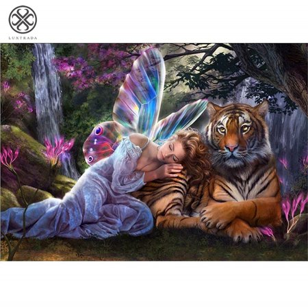 Luxtrada Full Drill 5D DIY Diamond Painting Animals Embroidery Craft Decor Cross Stitch Kits with Tools (type, tiger)