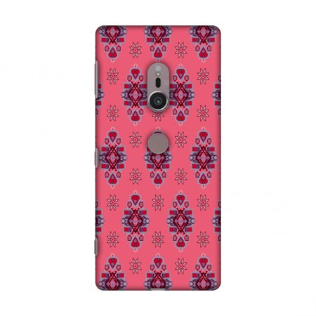 Sony Xperia XZ2 Case - Tribal florals- Bright pink, Hard Plastic Back Cover, Slim Profile Cute Printed Designer Snap on Case with Screen Cleaning Kit
