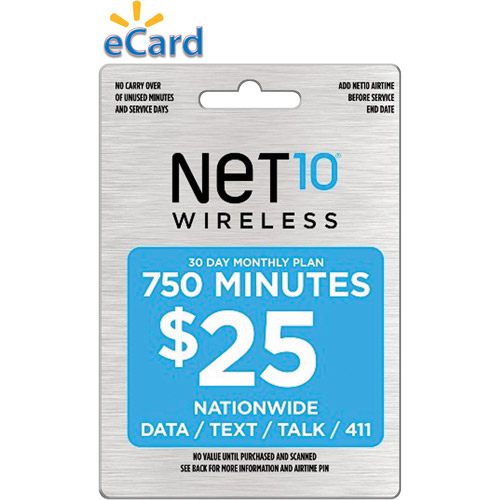 (Email Delivery) NET10 $25 Prepaid Card, 750 min, 30 day monthly plan, talk, text, web/email, 411