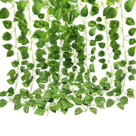 Silk Jungle Plants (Fake Vines 2 Bunch 4ft  Artificial Hanging Plants Silk Green Leaf Garlands Home Office Garden Outdoor Wall Greenery Cover Jungle Party Christmas Decoration )
