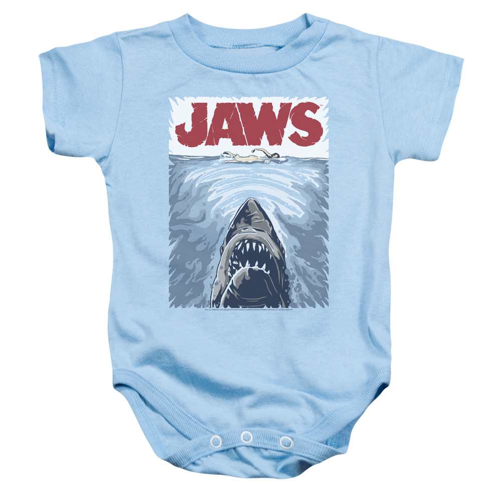Jaws/Graphic Poster   Infant Snapsuit   Light Blue    (24 Mos)  Uni556