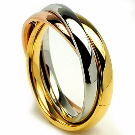 Women's Stainless Steel Tri-Love Not Trinity Ring Sizes 5-10