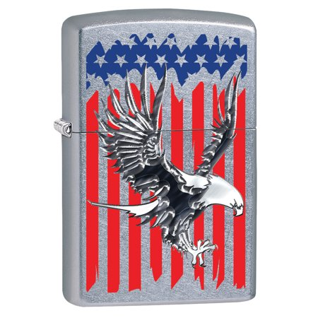 Zippo Lighter: Bald Eagle on American Flag - Street Chrome (American Lighter)
