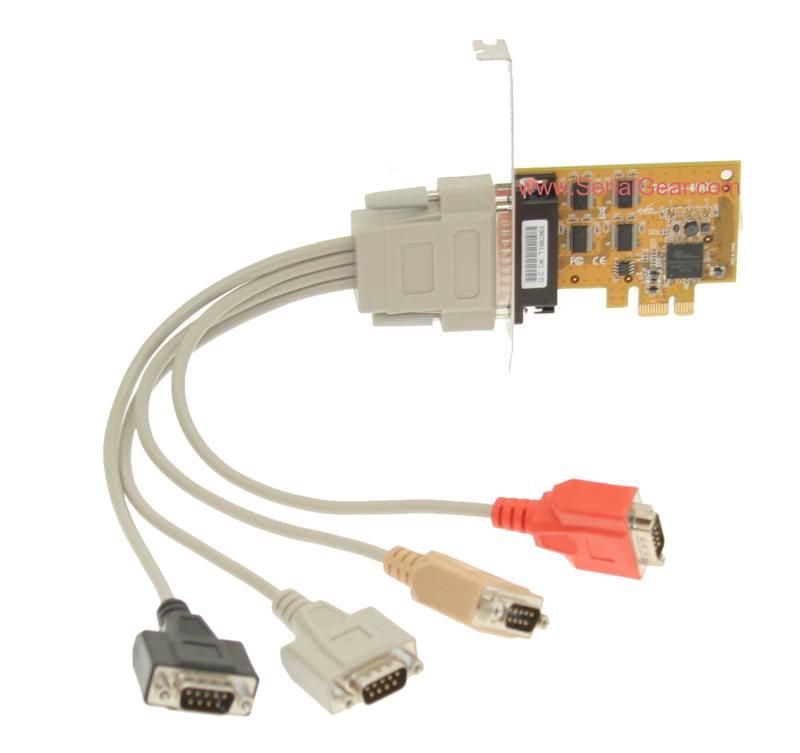SerialGear 4-Port PCI Express Serial Card RS-232