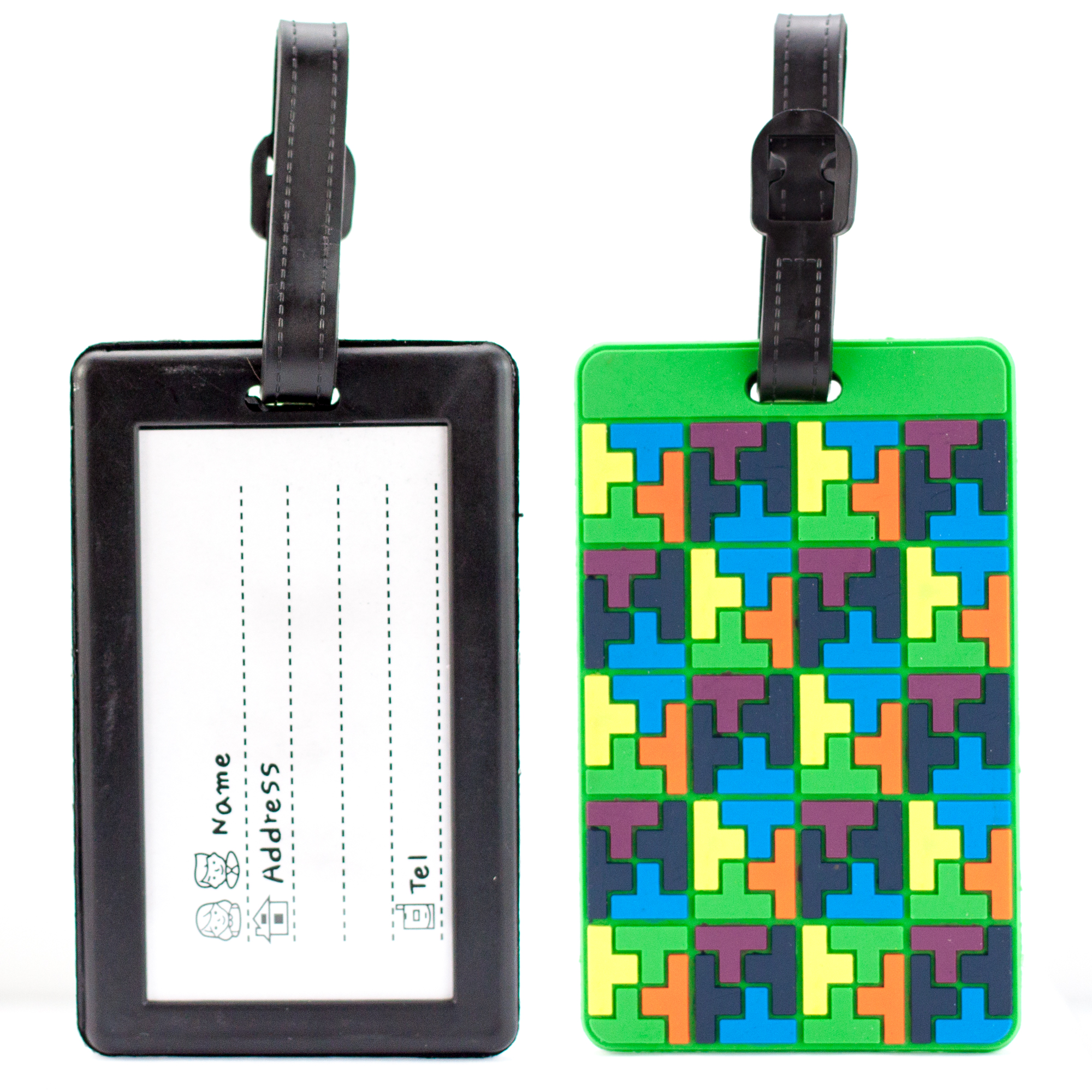 Miami CarryOn Luggage Tags Card Holder – Colorful Travel ID Bag Tags - Set of 2 (Tetris Style)