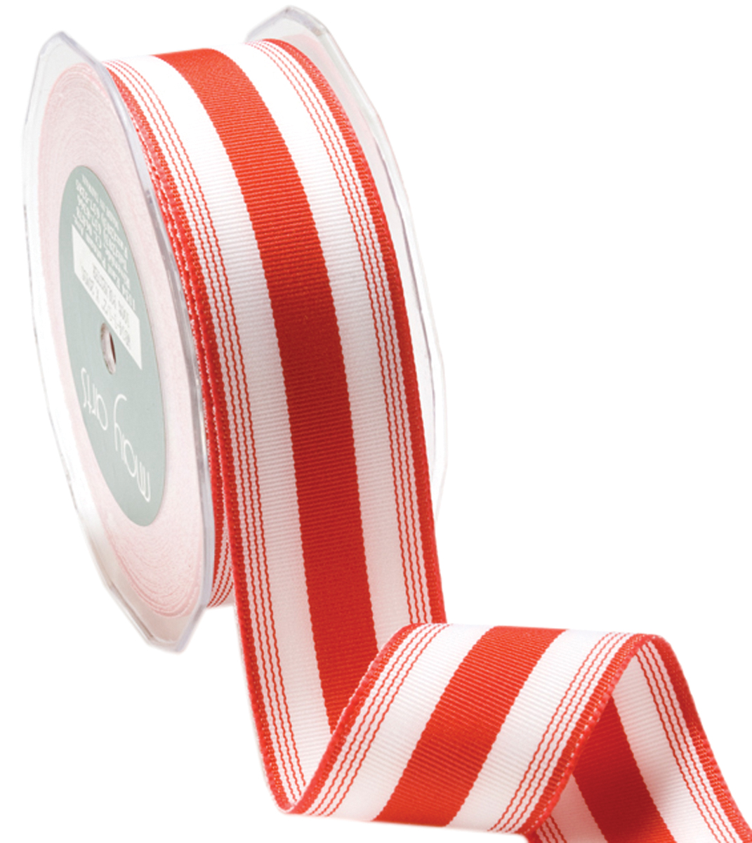 Striped Grosgrain Ribbon 3/8 Inch X 50 Yards-Red/White