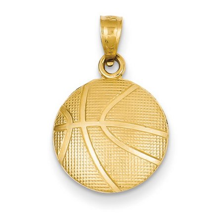 14k Yellow Gold Basketball - Ram Basketball Pendant