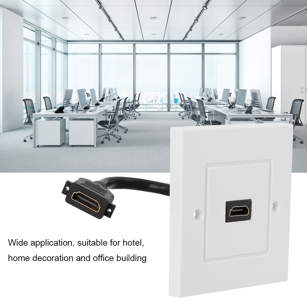 OTVIAP HDMI Plate With Cable,White HDMI Wall Plate Panel