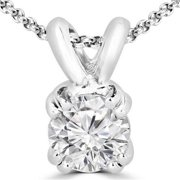 Majesty Diamonds 0.25 CT Solitaire Round Diamond Pendant Necklace in 14K White Gold With Chain, 0.25 Carat