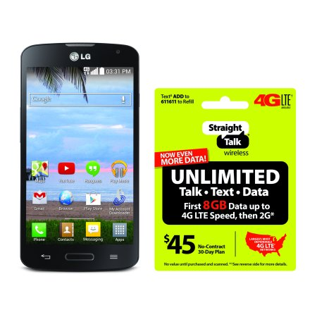 Refurbished Straight Talk LG Access 4G LTE Android Prepaid Smartphone with BONUS $45/30